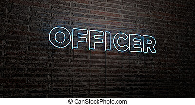 OFFICER -Realistic Neon Sign on Brick Wall background - 3D...