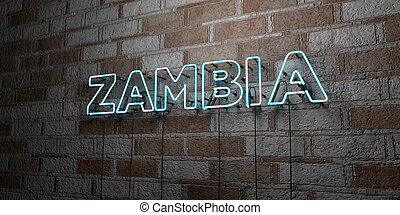 ZAMBIA - Glowing Neon Sign on stonework wall - 3D rendered...