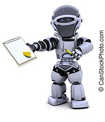 robot with clipboard - 3D render of a robot  with clipboard