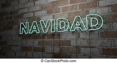 NAVIDAD - Glowing Neon Sign on stonework wall - 3D rendered...