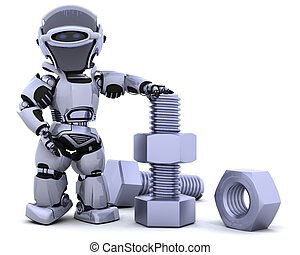robot with nut and bolt - 3D render of a robot with nuts and...