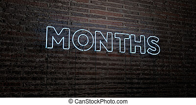 MONTHS -Realistic Neon Sign on Brick Wall background - 3D...