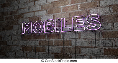 MOBILES - Glowing Neon Sign on stonework wall - 3D rendered...