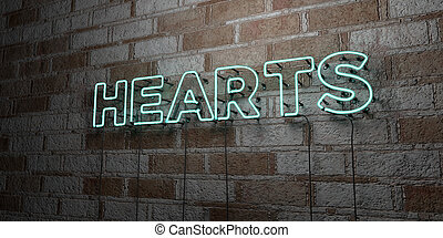 HEARTS - Glowing Neon Sign on stonework wall - 3D rendered...