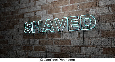 SHAVED - Glowing Neon Sign on stonework wall - 3D rendered...