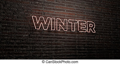 WINTER -Realistic Neon Sign on Brick Wall background