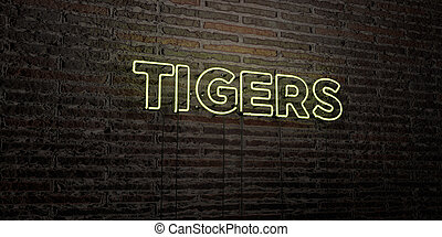 TIGERS -Realistic Neon Sign on Brick Wall background