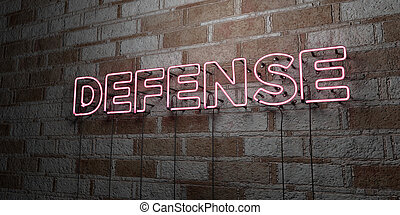 DEFENSE - Glowing Neon Sign on stonework wall - 3D rendered...