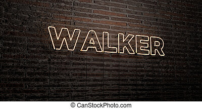 WALKER -Realistic Neon Sign on Brick Wall background - 3D...