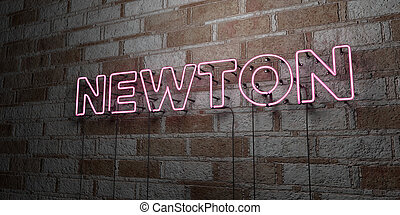 NEWTON - Glowing Neon Sign on stonework wall - 3D rendered...