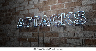 ATTACKS - Glowing Neon Sign on stonework wall - 3D rendered...