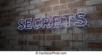 SECRETS - Glowing Neon Sign on stonework wall - 3D rendered...
