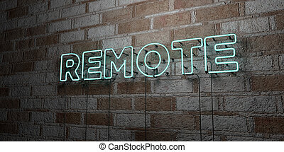REMOTE - Glowing Neon Sign on stonework wall - 3D rendered...