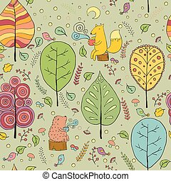 forest tea - seamless pattern with forest, tea, fox and...