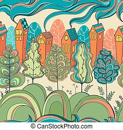 seamless pattern with trees and houses - seamless pattern...