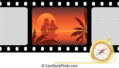 travel background - travel vector film strip background with...