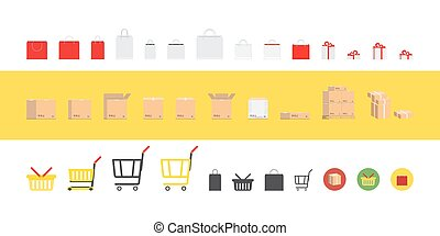 Set of packages and boxes to store and transportation. Flat vector illustration EPS 10.