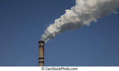 Smoke from factory chimneys. Full hd video