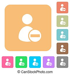 Remove user account rounded square flat icons - Remove user...