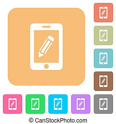 Smartphone memo rounded square flat icons