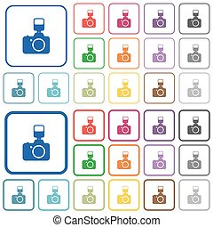 Camera with flash outlined flat color icons - Camera with...