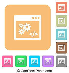 Application programming interface rounded square flat icons