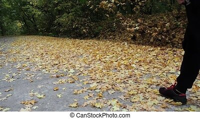 The girl with the backpack goes on the yellow leaves. The...