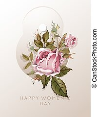 8 March flower bouquet for Women Day greeting card template