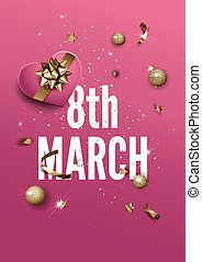 8 March greeting card with vector golden sparkling stars confetti