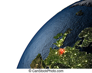 Belgium in red on Earth at night - Belgium highlighted in...
