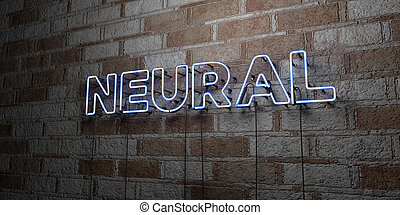 NEURAL - Glowing Neon Sign on stonework wall - 3D rendered...
