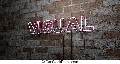 VISUAL - Glowing Neon Sign on stonework wall - 3D rendered...