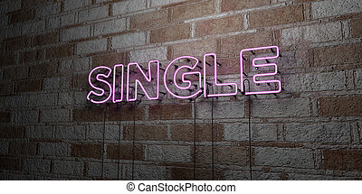 SINGLE - Glowing Neon Sign on stonework wall - 3D rendered...