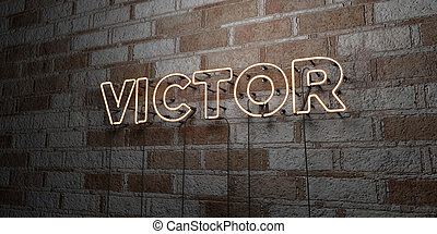 VICTOR - Glowing Neon Sign on stonework wall - 3D rendered...
