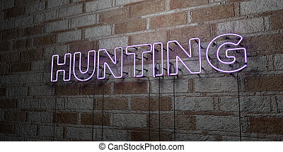 HUNTING - Glowing Neon Sign on stonework wall - 3D rendered...