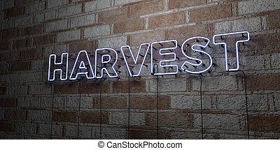 HARVEST - Glowing Neon Sign on stonework wall - 3D rendered...