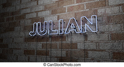 JULIAN - Glowing Neon Sign on stonework wall - 3D rendered...