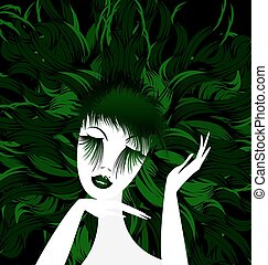abstract green lady - black background and abstract white...