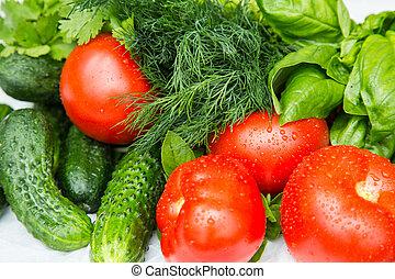 Fresh wet home grown vegetables - Fresh wet organic...