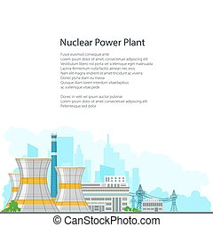 Brochure Nuclear Power Plant on White Background - Nuclear...