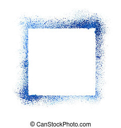 Blue sprayed stencil frame isolated on the white background....
