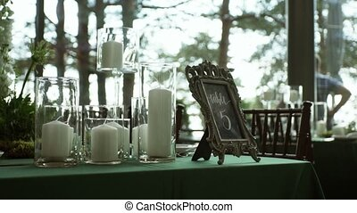 Table decoration on party in restaurant