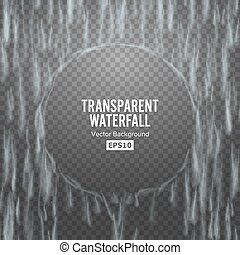 Transparent Waterfall Vector. Abstract Falling Water...