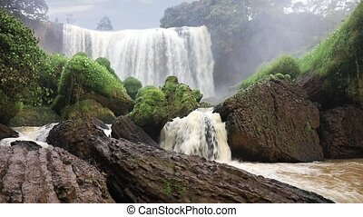 Beautiful Elephant waterfall, Vietnam - Front view of...