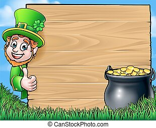 Cartoon Leprechaun St Patricks Day Background Sign - A...