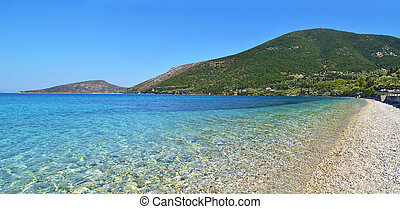 turquoise sea at Ithaca beach Greece - turquoise sea at...