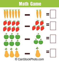 Math educational game for children, subtraction mathematics...