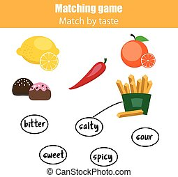 Matching children educational game, match food by taste