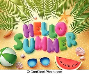 Hello summer vector banner design in beach sand background