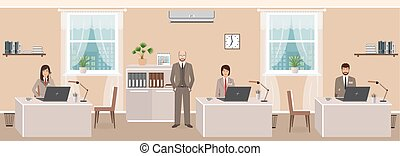 Realistic characters of business employee and boss in office room interior at workday beginning. Teamwork concept.